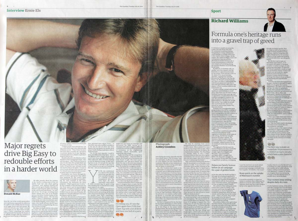 Ernie Els for The Guardian
