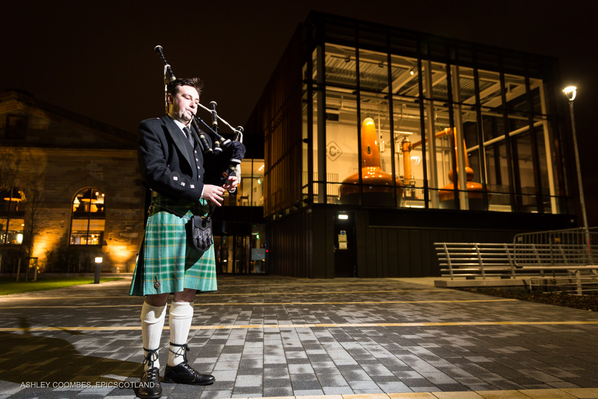 Clydeside Distillery event piper