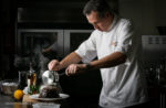 Nick Nairn preparing a Christmas Sponge Pudding