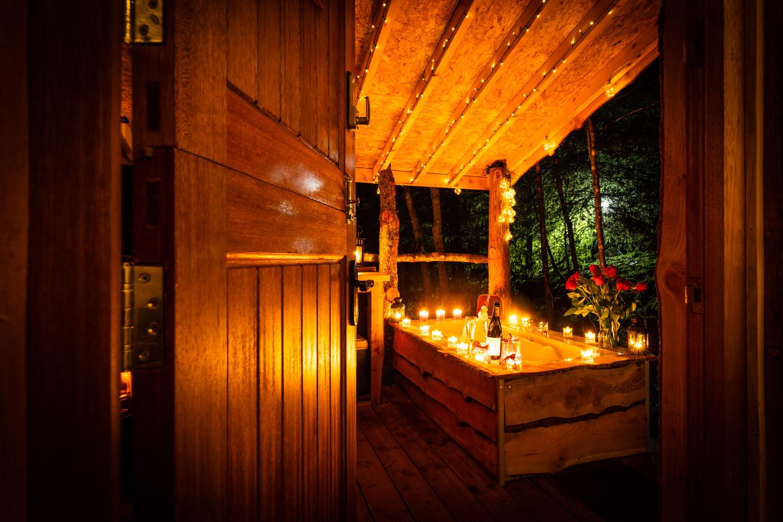 candle-lit bath