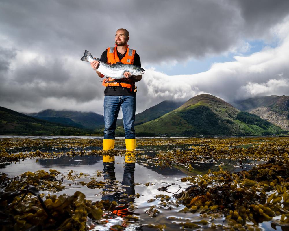 Editorial portrait fish farmer