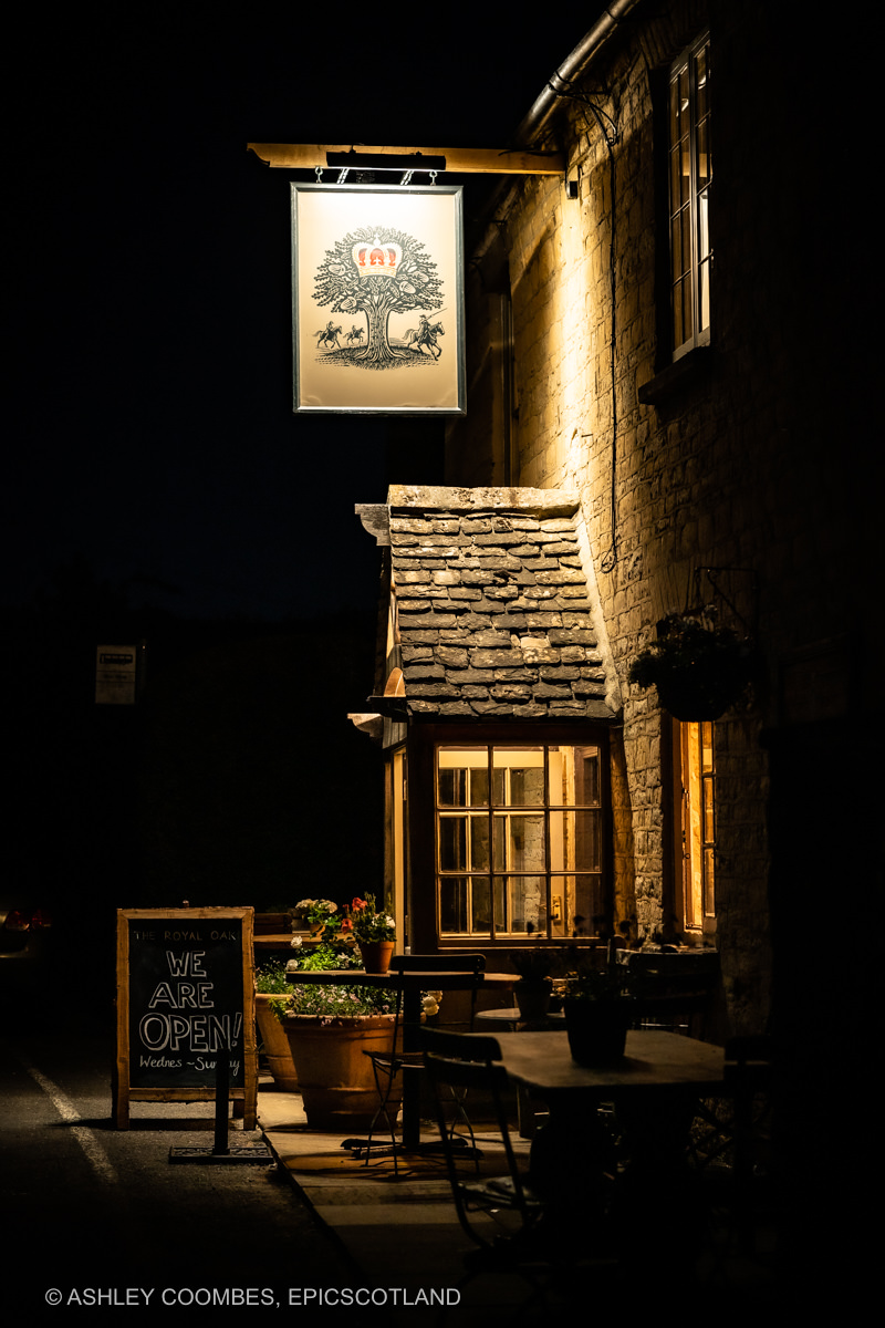 Cotswold pub night time exterior