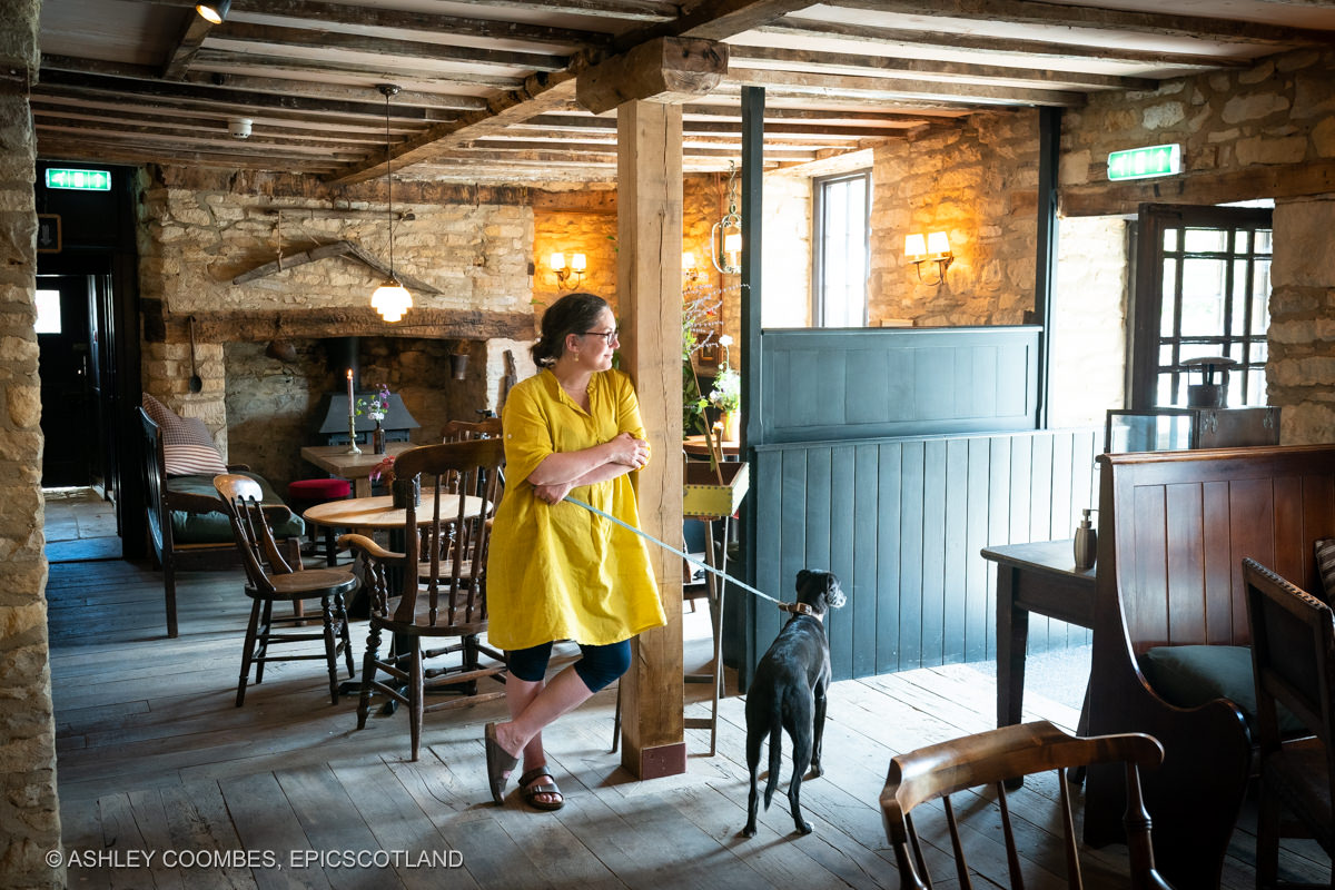Cotswold pub woman and dog